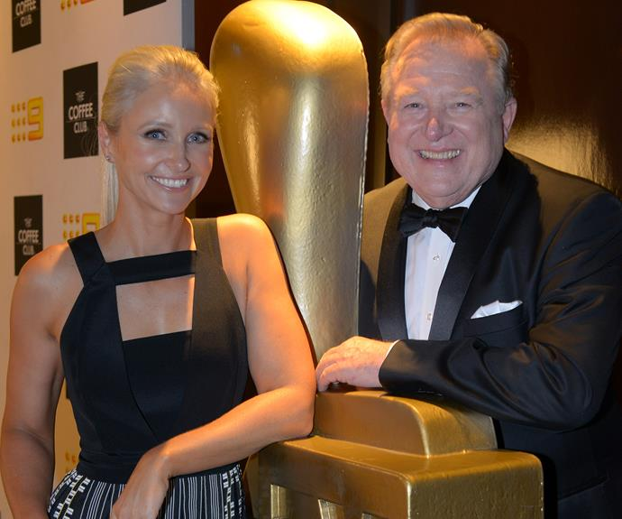 Livinia Nixon and Peter Hitchener strike a pose next to the gold Logie statue.