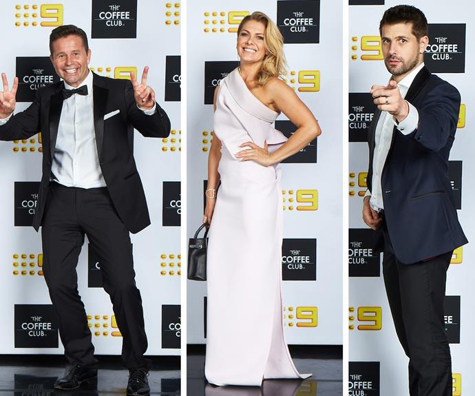 Steve Jacobs, Nat Bass and Ryan Johnson work their best angles at the Channel Nine Logies Coffee Club After Party.