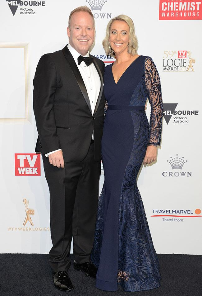 Gold Logie nominee Peter Helliar and his wife Bridget looked happy to be at the awards.