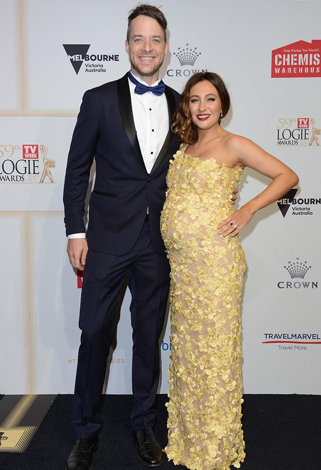 Radio host Hamish Blake with his lovely wife Zoe Foster Blake, who glowed in her dreamy floral Con Ilio dress.