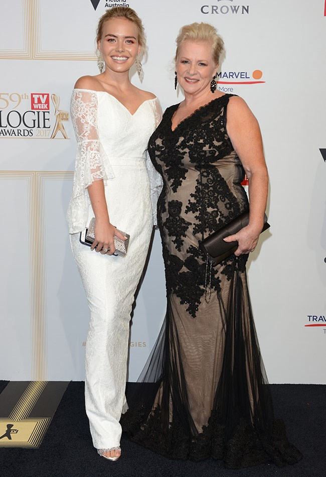 Lilly Van Der Meer and Colette Mann both looked lovely in lace dresses for the TV WEEK Logie Awards.