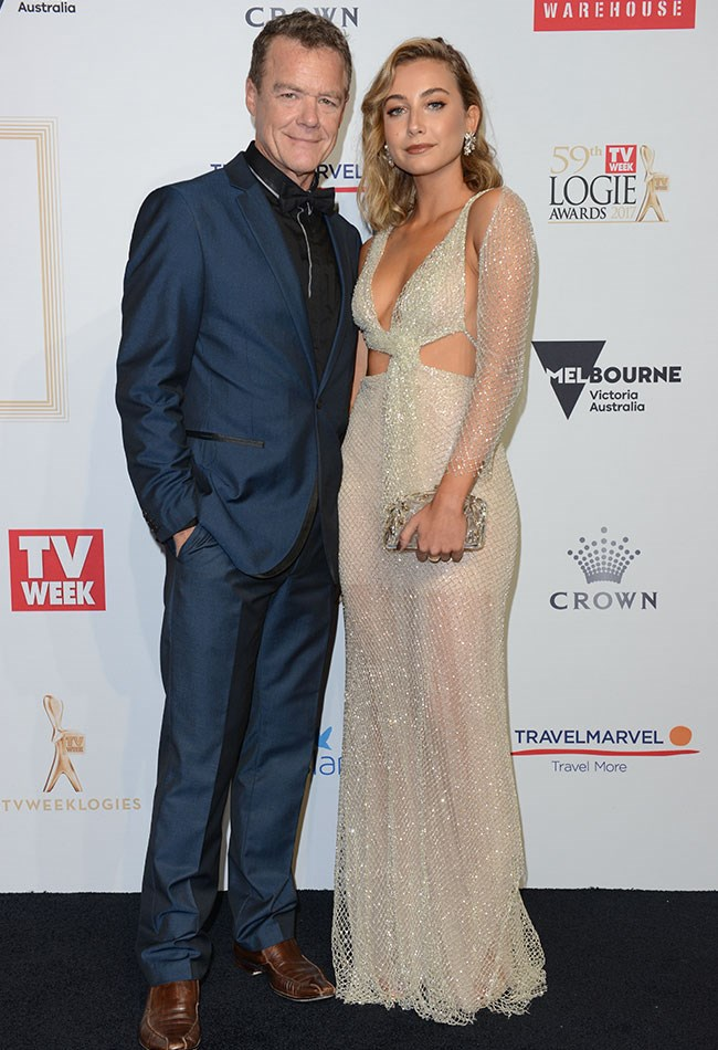 On-screen bad guy Stefan Dennis and Mavournee Hazel posed for pictures at the TV WEEK Logie Awards..
