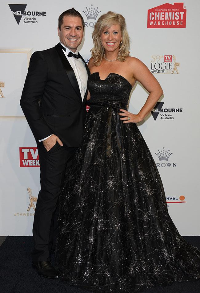 Chris and Kim from the last season of *The Block* were all smiles as they posed for photos at the TV WEEK Logie Awards.