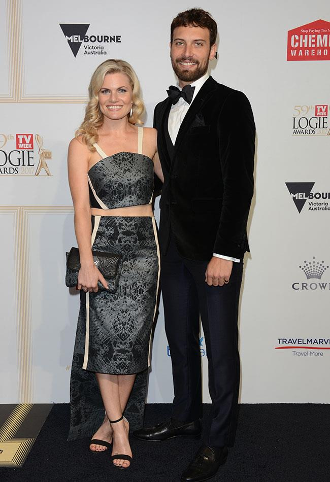 Not a real life couple, but they sure do look sweet posing together! Former *Home And Away* star Bonnie Sveen looked lovely in a two piece dress alongside her *The Secret Daughter* co-star J.R Reyne.