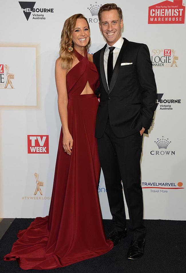 *The Project's* Carrie Bickmore dazzled in a maroon gown alongside partner Chris Walker.