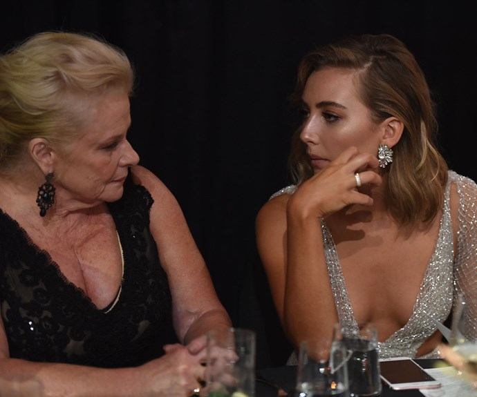 Colette Mann and Mavournee Hazel deep in conversation.