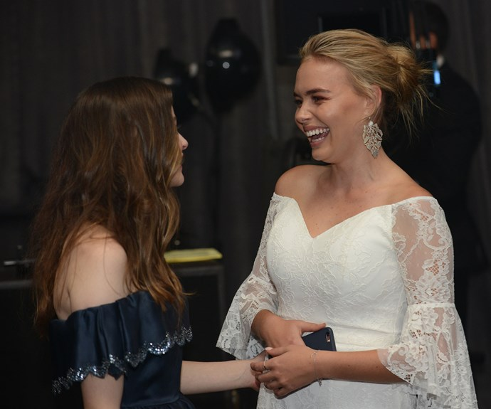 Lilly sharing a laugh with *Love Child* star Tiarnie Coupland.