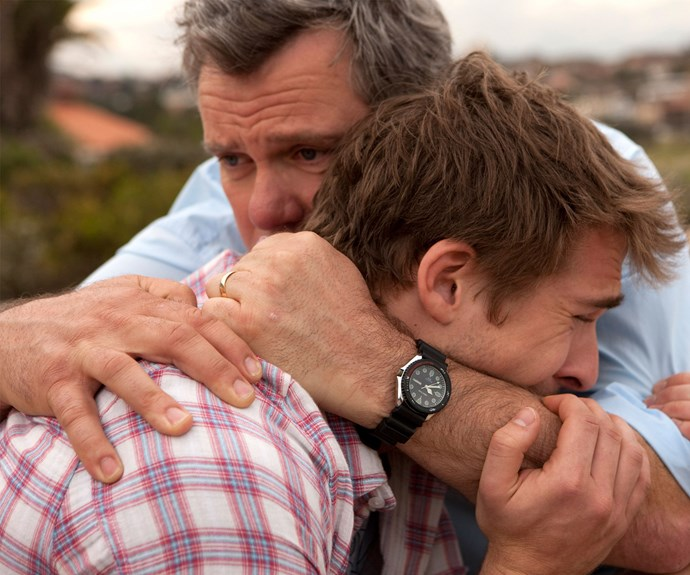 """PACKED TO THE RAFTERS: Erik says - """"That was a big scene – Melissa's [Zoe Ventoura] death. We shot it at the cliffs in Bronte [in Sydney]. It was just Hugh [Sheridan, aka Ben] and I, and it was just really beautiful. He got the chance to break down. I was glad I was given the scene, because Rebecca Gibney got a lot of those scenes. I think I got the scene because it was really a father-and-son moment of having to just let it all out."""""""