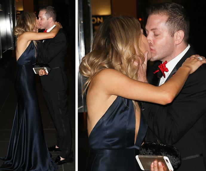 Single Sam was the life and soul of the party as she enjoyed a cheeky smooch at the event.