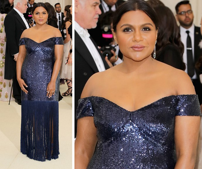 Mindy Kaling steps out in a fringed navy dress.
