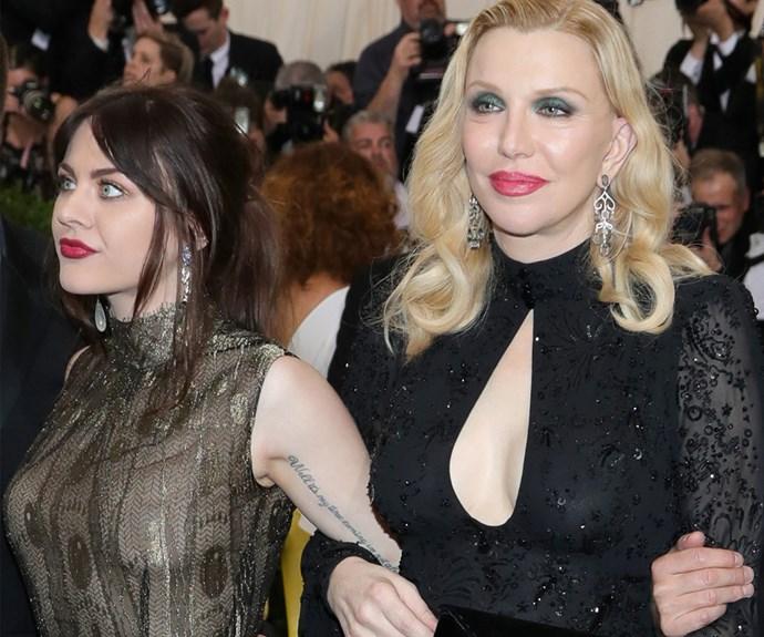 "Courtney Love's plus one? Her divine daughter [Frances Bean Cobain, 24.](http://www.nowtolove.com.au/celebrity/celeb-news/frances-bean-honours-her-late-father-kurt-cobain-35317 target=""_blank"")"