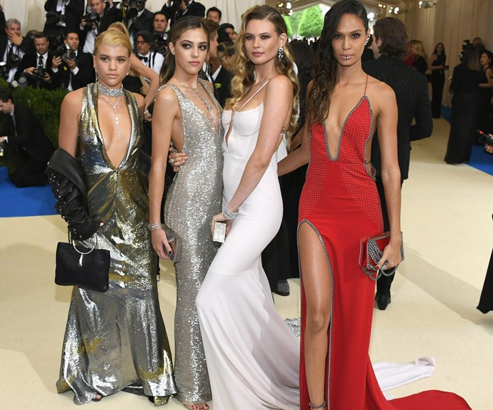 Candice Swanepoel, Sofia Richie, Chloe Bennet, Behati Prinsloo, and Joan Smalls strike a pose.