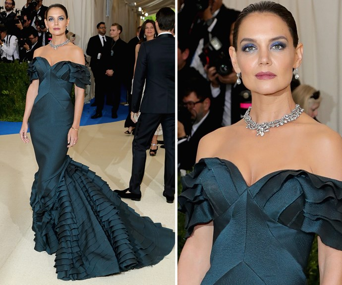 Katie Holmes works old Hollywood glamour in a deep teal gown.