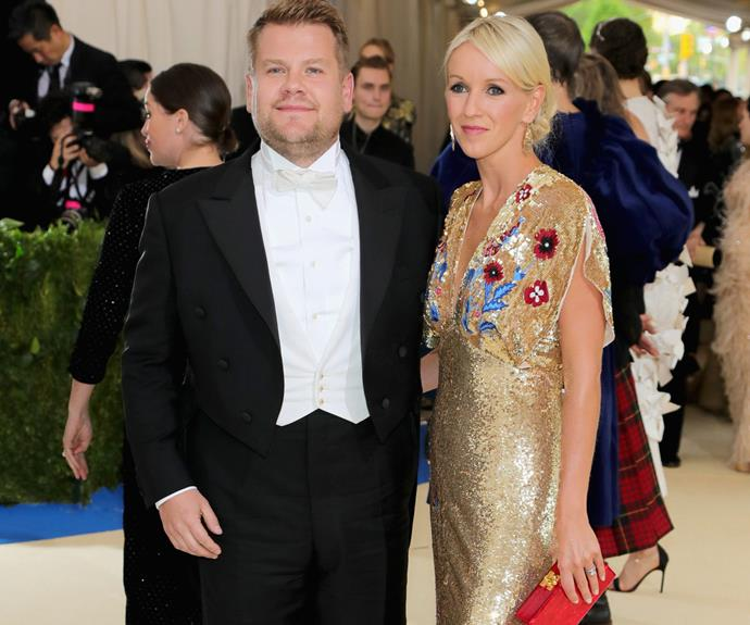 Aww, James Corden is joined by his wife Julia Carey.