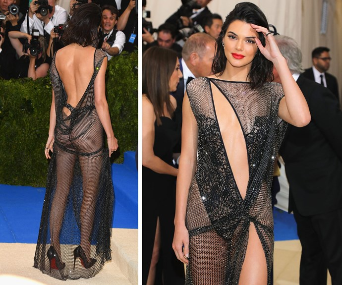 Kendall Jenner ditches the underwear in this daring sheer frock.