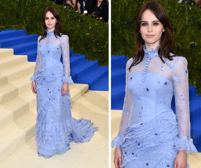 Felicity Jones is a lilac dream.