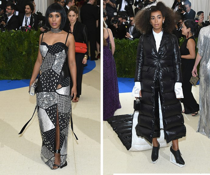 How cute is Kerry Washington's bob? While Solange rugs up in a cosy jacket.