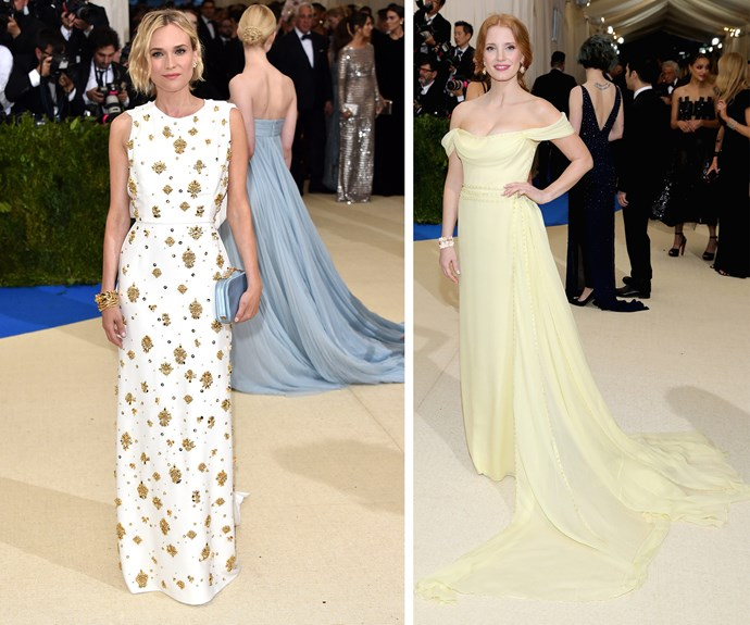 Diana Kruger and Jessica Chastain's dresses bring pops of sunshine to the yellow carpet.