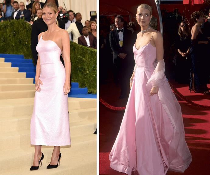 Anyone else getting Oscar flashbacks to Gwynnie's Ralph Lauren dress (R) from the 1999 ceremony?