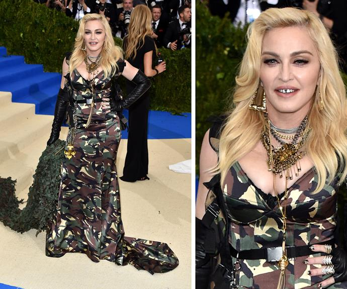 **WORST:** Madonna's camo-style Moschino dress wasn't the most flattering for the Queen of Pop.