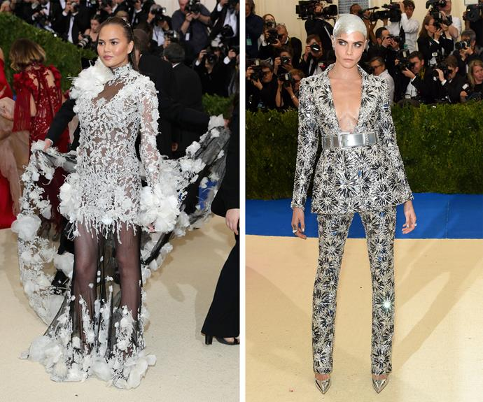 It's all about textures for Chrissy and Cara Delevingne.