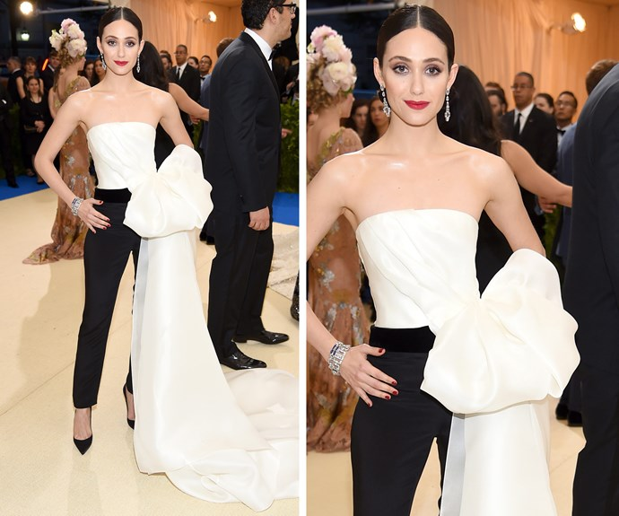 Emmy Rossum is all class in her jumpsuit.