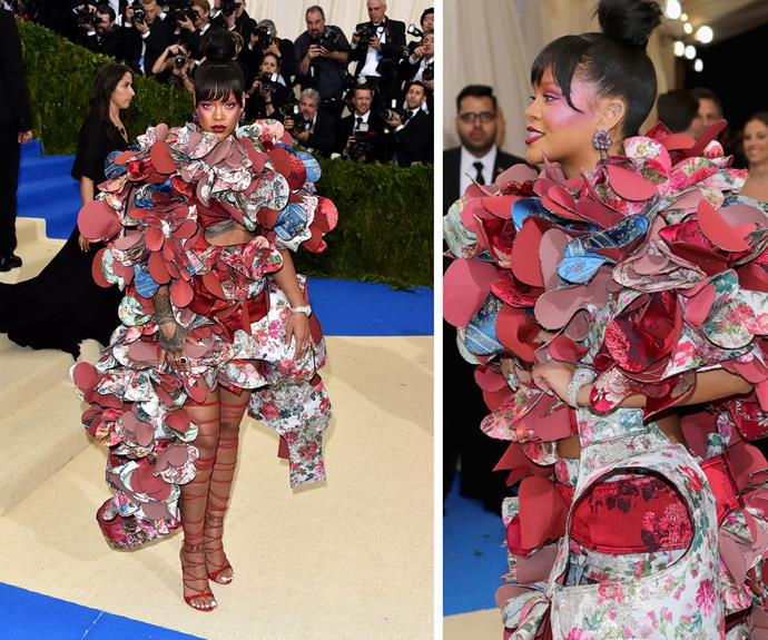 **BEST:** Rihanna stole the show in her inimitable way, wearing this intricately constructed Comme des Garçons dress.
