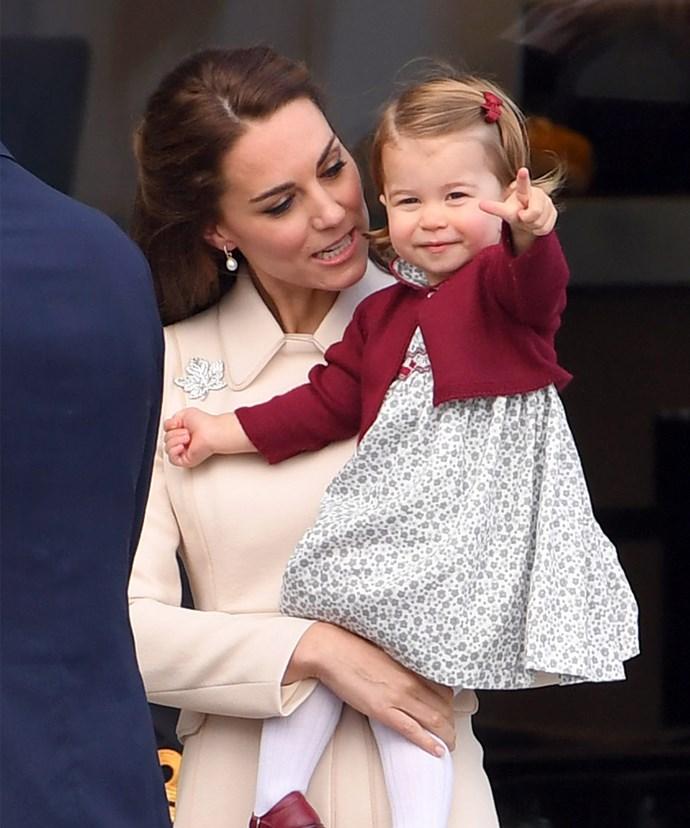 Little Charlotte regularly dons knitwear.