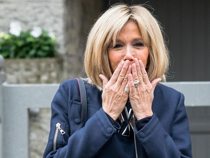 """Although the new French First Lady hasn't given a lot of interviews (yet) she's revealed a quick wit and sharp tongue.   When reporters probed as to why her husband was """"so good at politics"""", she responded that, """"He is good at everything. Not just politics, you're being quite restrictive.""""   She then added: """"I'm yet to find an area where he isn't good"""", much to the amusement of the *Le Petit Journal* journalists."""