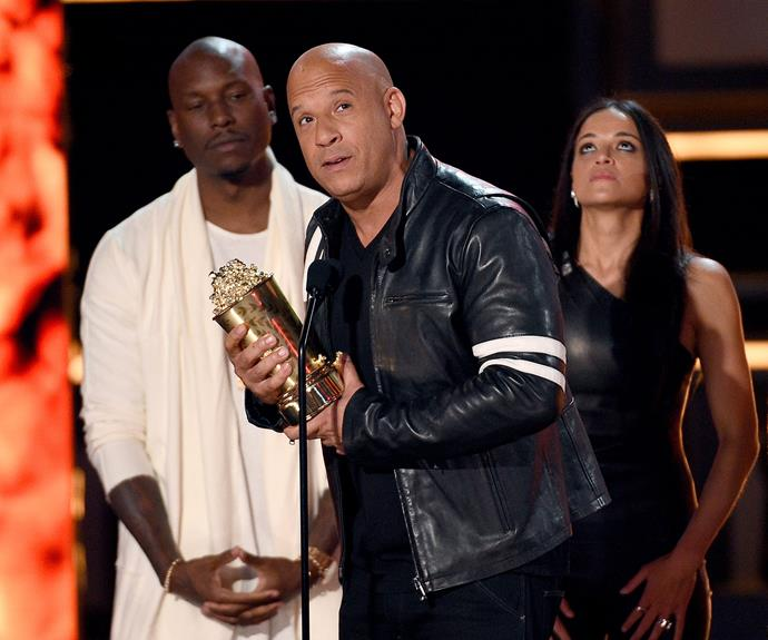 """I could never stand on the stage and talk about *Fast and Furious* without giving love to my brother,"" Vin said during his acceptance speech."