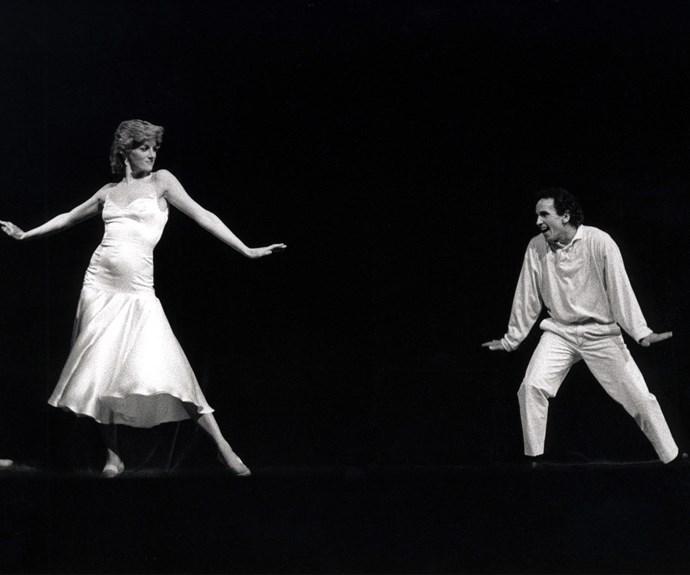 Princess Diana dancing with ballet dancer Wayne Sleep. *(Image: Rex Features)*