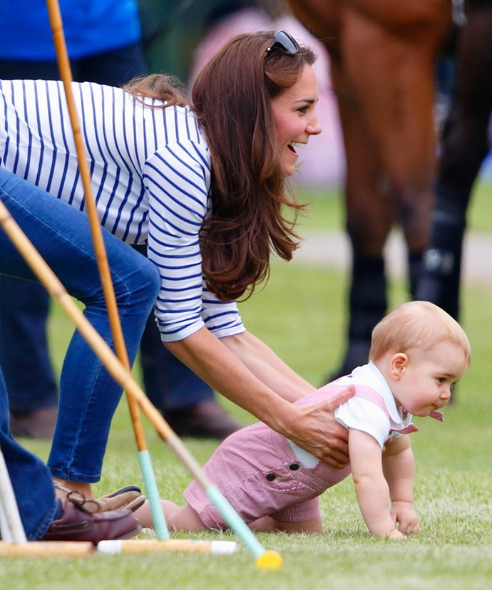 Someone's taken after their daddy. In June 2014, king crawler Prince George had mum Kate running after him as he took in the plush grass at the polo.