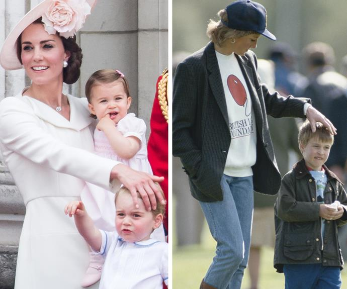 Nothing like mum giving you a comforting fringe sweep. Last year George showed his sister the ropes at Trooping the Colour. Meanwhile Diana and Wills share a sweet moment at the polo in 1988.