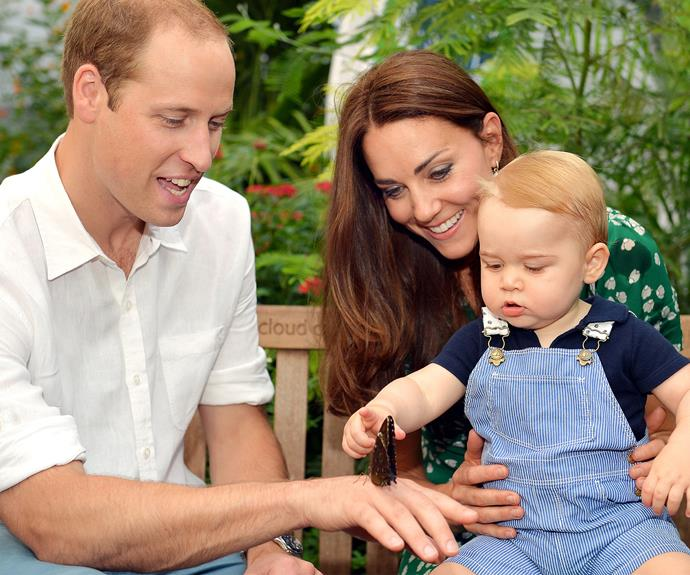 His royal sweet cheeks marked his first birthday with this darling snap from a visit to the Sensational Butterflies exhibition at the Natural History Museum in London.