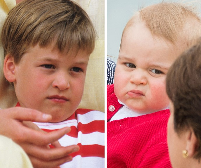 Wills, back in 1987, wasn't too pleased... Despite being on holidays in Spain. As for son George, nearly 30 years later, he totally mastered the art of looking unimpressed during his first tour of Oz.