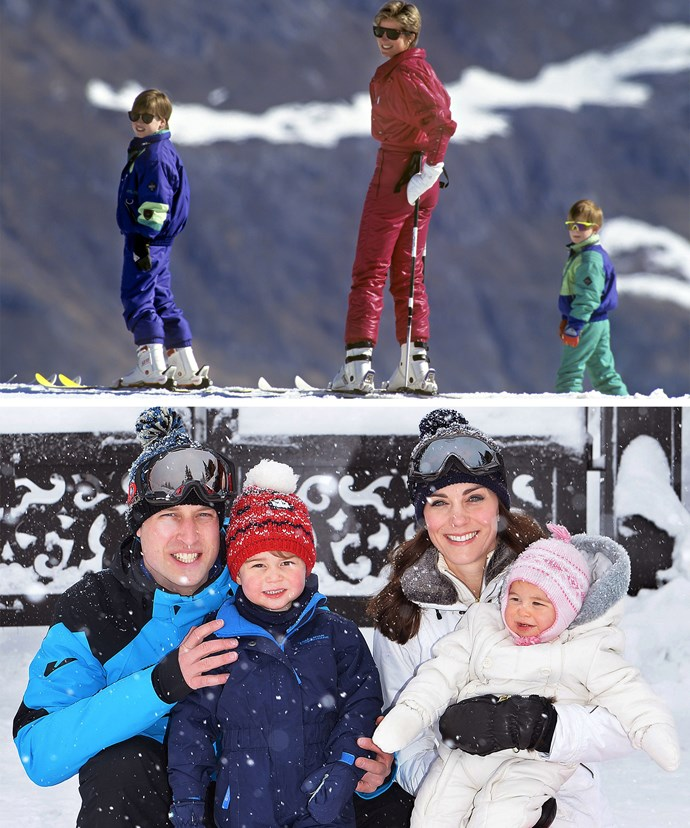 Acting all kinds of chill in the snow... Diana with her boys in Austria back in 1991. William and Kate continued the vacay tradition this time heading to the French Alps with their mini-mes.