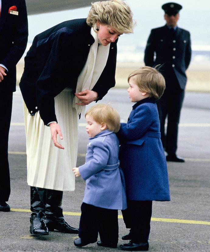 Somewhere down the line, blue became the official royal colour. The People's Princess arrives in Scotland with her cherubs back in March, 1986.
