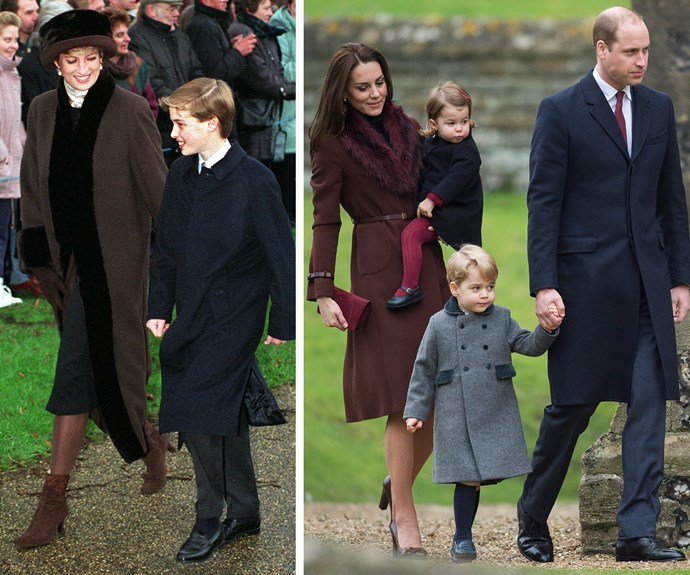 Nothing like a crisp morning church service to kick off your Christmas. Whether it's Diana with Will back in 1994, or Kate with Charlotte and George - the little ones' Christmas spirit is just as bright.