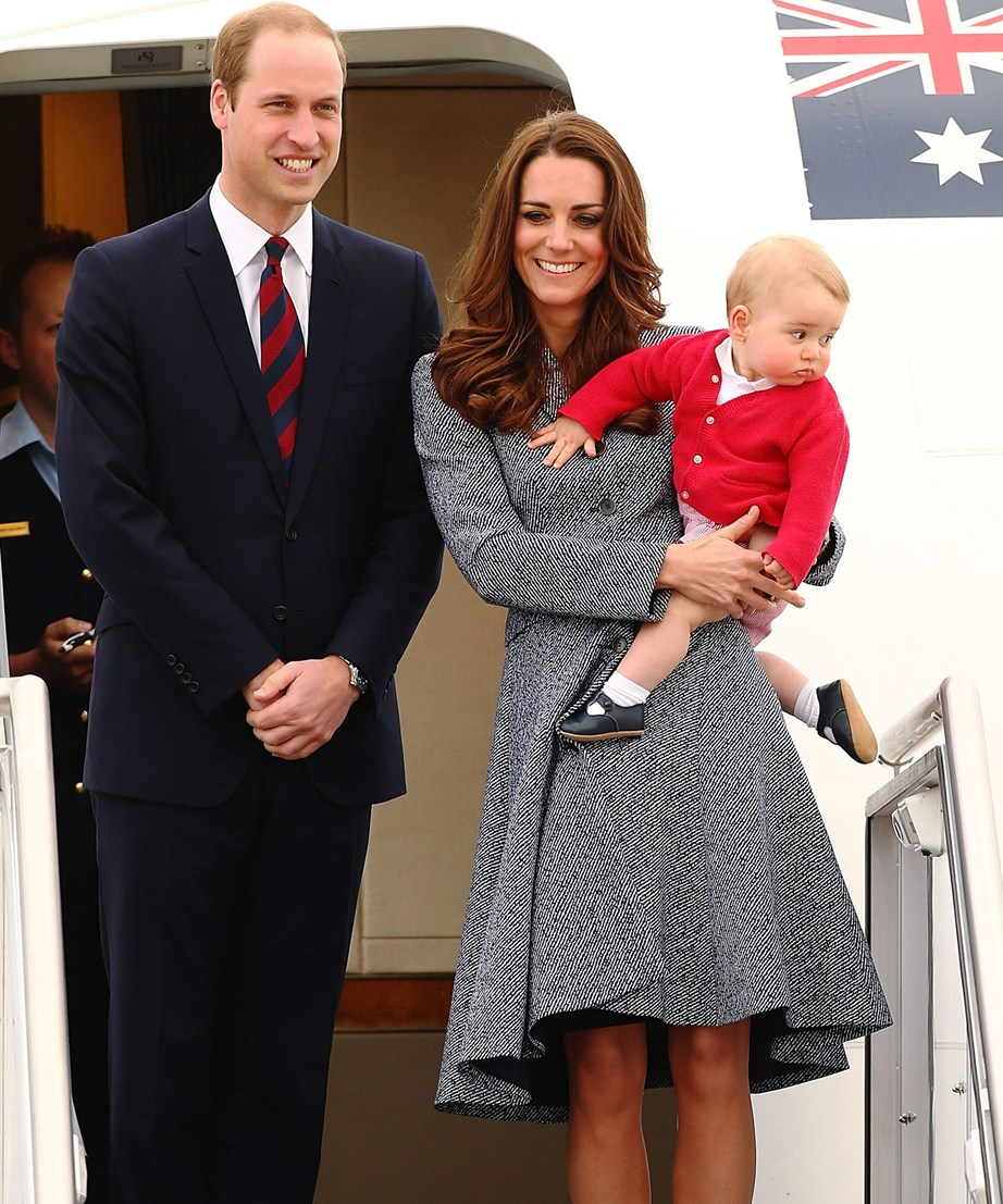 And here, Prince William and Duchess Catherine disembark from their plane with Prince George in arms.