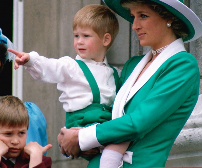 Diana had to tend to two young kids during 1988's Trooping the Colour. Prince Harry seems to be delighted by the crowds below, future King William seems less than fussed... A trait passed down to his son.