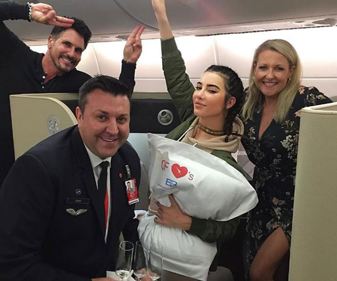 Jacqueline MacInnes Wood posted a few happy snaps on board her Qantas flights with co-star Don Diamont.