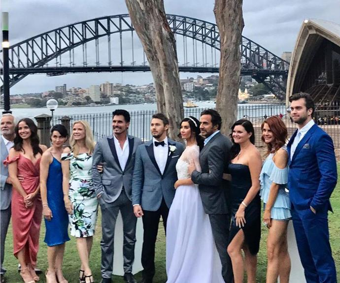 The *Bold and the Beautiful* cast looking dapper on set in the midst of Sydney Harbour!