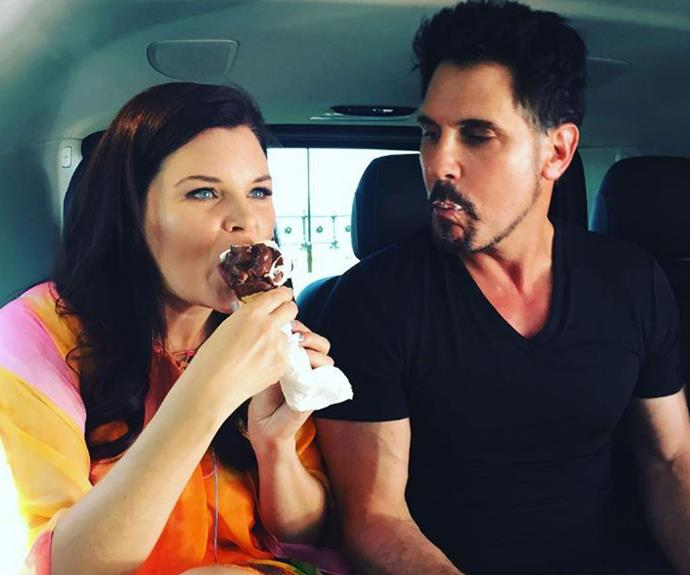 Co-stars Heather Tom and Don Diamont beating the Australian heat with a nice cold ice cream.