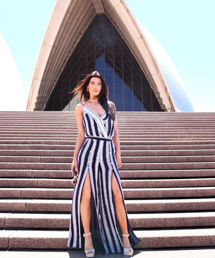 Jacqueline MacInnes Wood looking stunning in front of Sydney's Opera House.