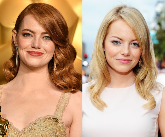 **Emma Stone.** The actress deserves another Oscar for tricking us into thinking she was a natural redhead! Her coppery tones look picture perfect, but Emma is in fact a real-life blonde. Who knew.