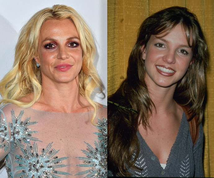 **Britney Spears.** The singer's been bright blonde for ages, but her *Baby One More Time* days tell a darker story. Even though Britney had blonde highlights then, you could tell that her hair was naturally dark brown, as this before shot proves!