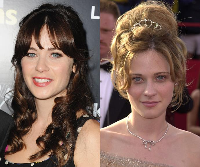 **Zooey Deschanel.** The *New Girl* actress is famous for her long dark hair, chunky fringe and quirky style so we did a double take at this earlier red carpet picture which shows Zooey's natural hair colour — honey blonde — and love for princess hair!