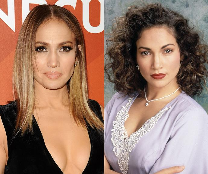 **Jennifer Lopez.** Her gorgeous (and natural-looking) caramel tones regularly top the best tressed list, but you might be surprised to learn that the singer/actress has naturally dark brown hair that's super curly.