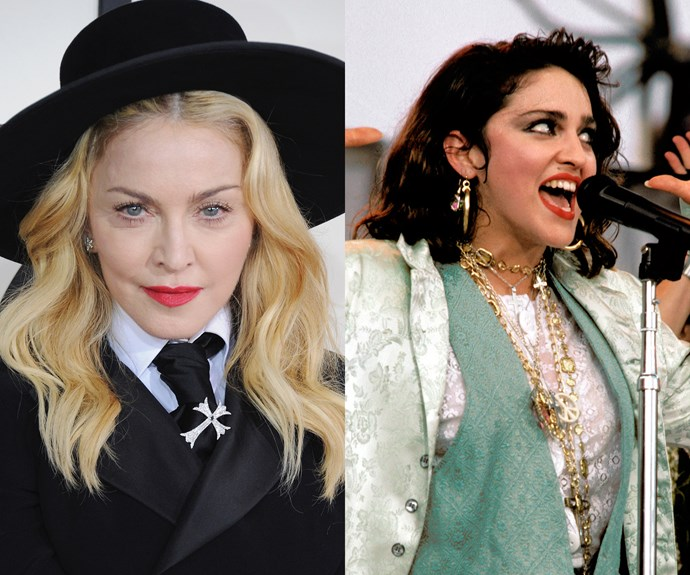 **Madonna.** Aside from the *Frozen* era — the song, not the movie — Madonna has committed to being blonde for so long that it's hard to remember her signature dark curls from the '80s.
