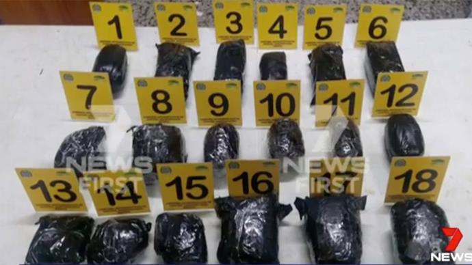 The 18 bags of cocaine found in Cassie's luggage. Image via *7 News*.